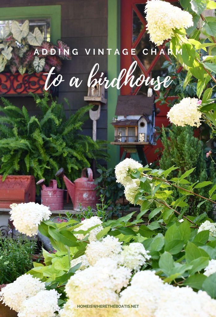 Adding Vintage Charm to a Birdhouse | ©homeiswheretheboatis.net #hydrangeas #flowers #garden #DIY