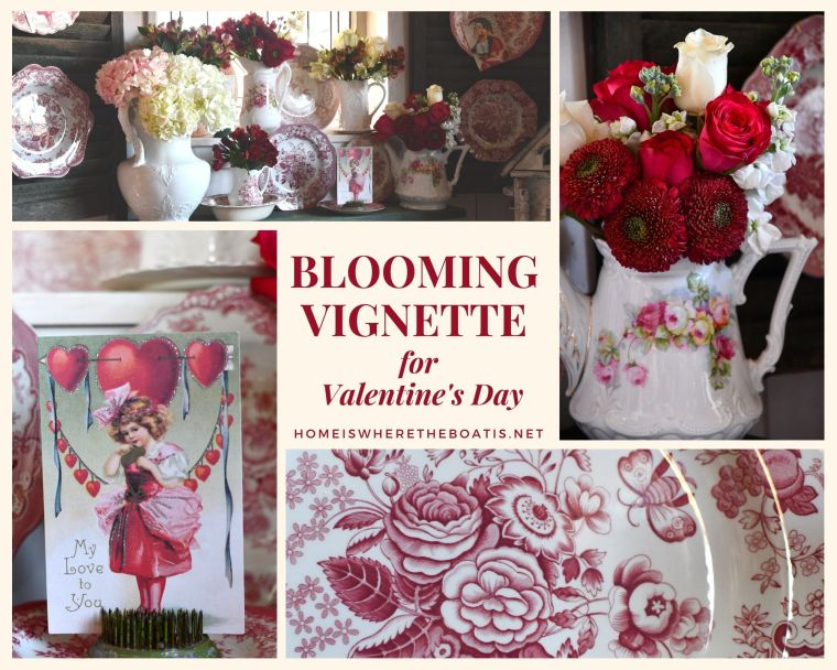 Dishing Up Flowers + Blooming Vignette for Valentine's Day | ©homeiswheretheboatis.net #valentinesday #flowers