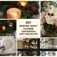 DIY Winter Hoot Flower Centerpiece and Table
