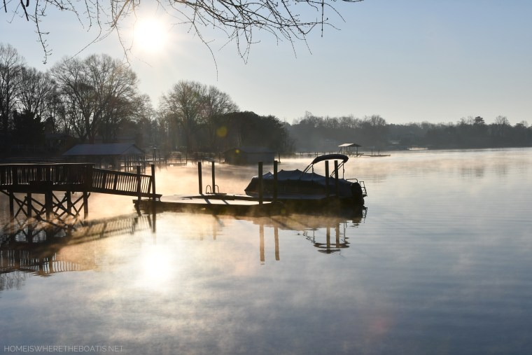 February Weekend Waterview and steam fog | ©homeiswheretheboatis.net #lakenorman #dogs #sunset #bichonfrise #dock