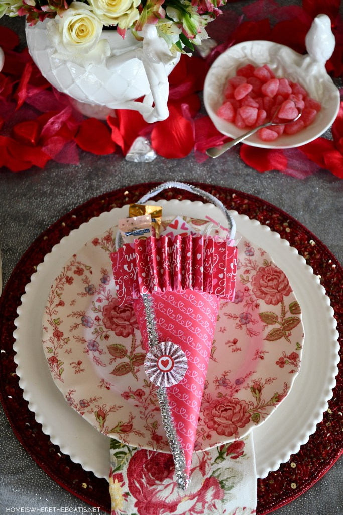 DIY Candy Cones for Valentine's Day and tablescape   ©homeiswheretheboatis.net #valentinesday #tablescapes
