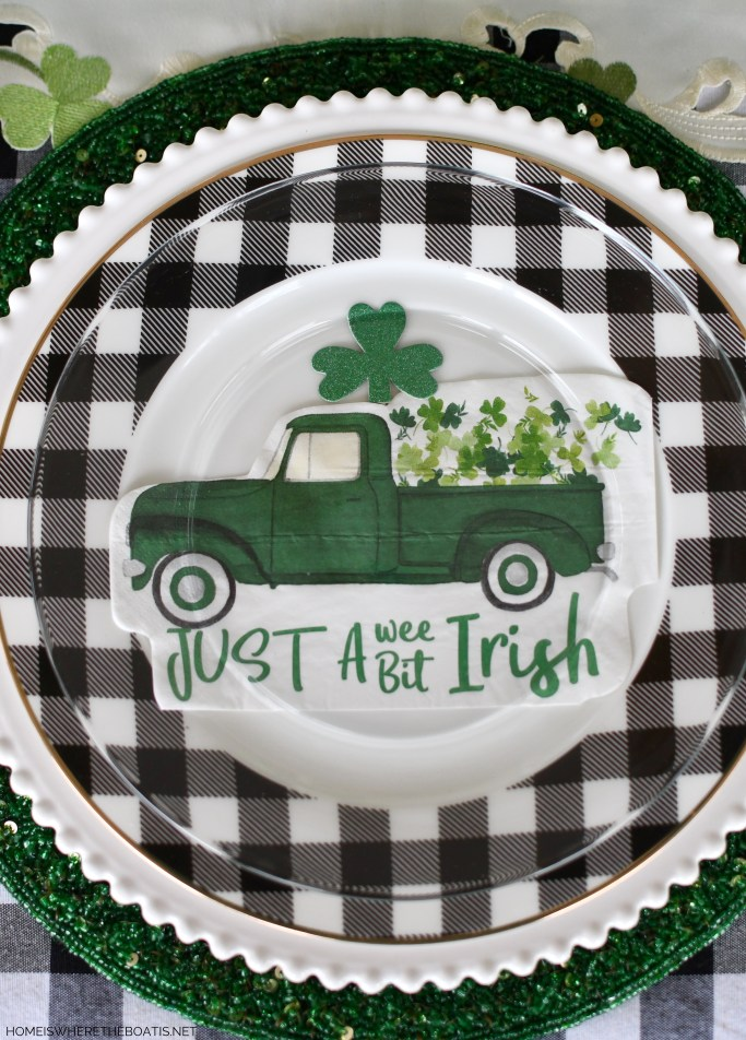 Just a Wee Bit Irish St. Patrick's Day table with truck delivering shamrocks | ©homeiswheretheboatis.net #stpatricksday #tablescapes