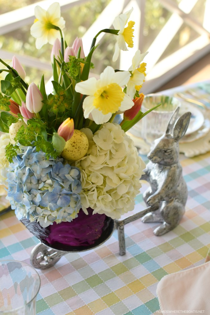 DIY Blooming Cabbage Flower Arrangement for Spring or Easter | ©homeiswheretheboatis.net #DIY #easter #spring #flowers #tablescape