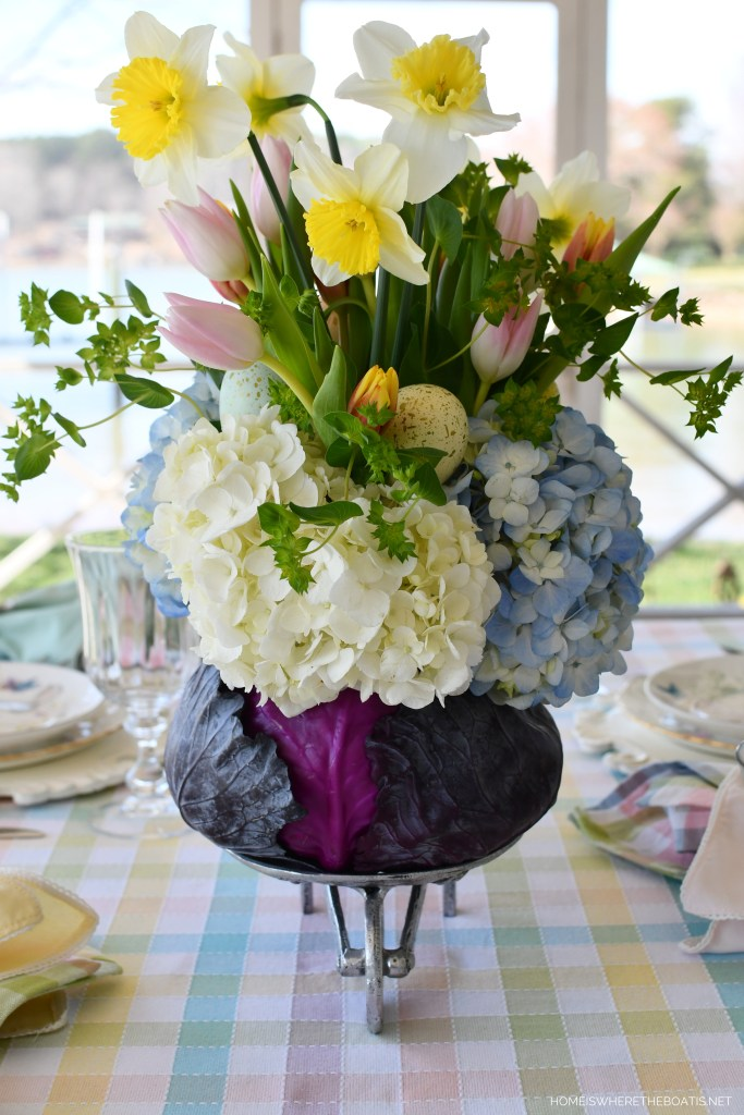 DIY Blooming Cabbage Arrangement | ©homeiswheretheboatis.net #DIY #easter #spring #flowers #tablescape
