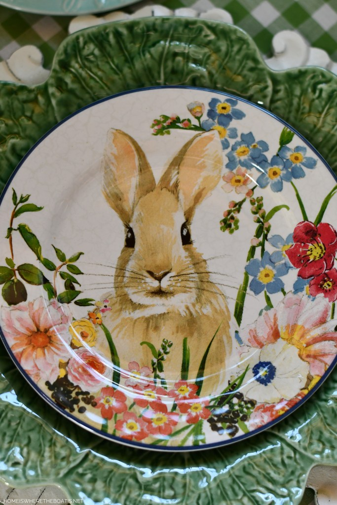 Spring tablescape with bunnies | ©homeiswheretheboatis.net #spring #easter #tablescape #rabbits