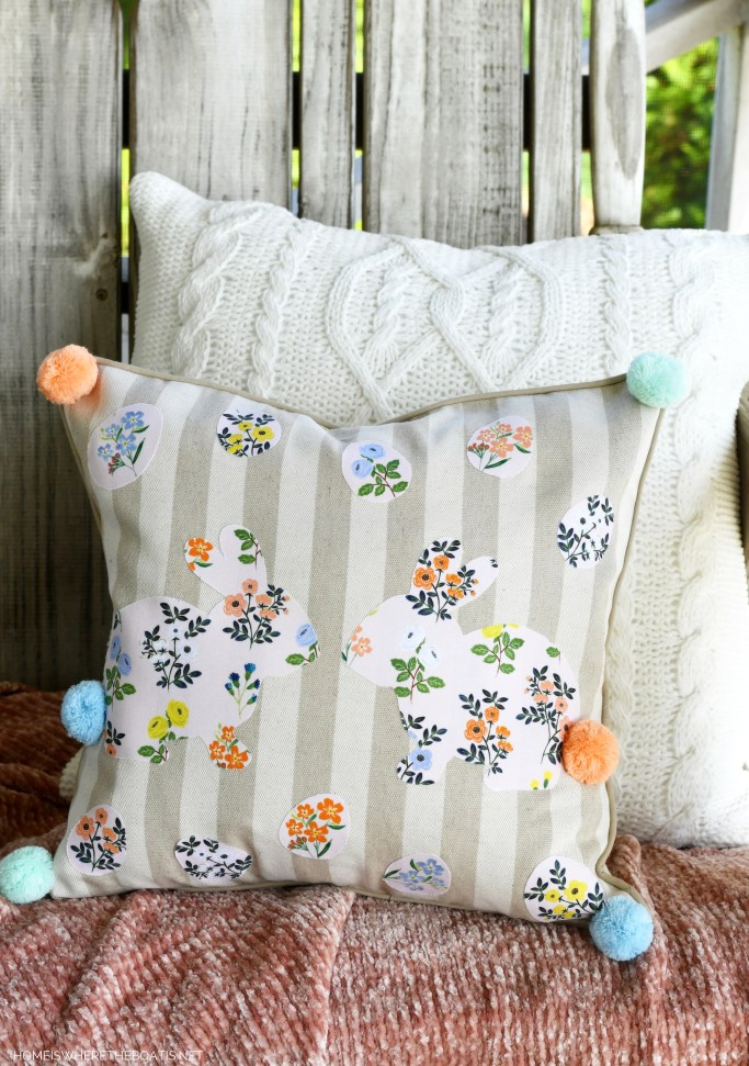 No-Sew Bunny Pillow for Easter or Spring | ©homeiswheretheboatis.net #diy #pillow #nosew #craft