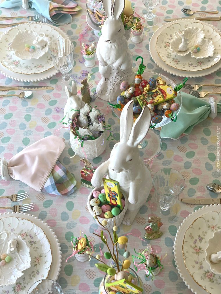 Cottontail Confectionery Easter Tablescape | ©homeiswheretheboatis.net #easter #tablescapes #bunny
