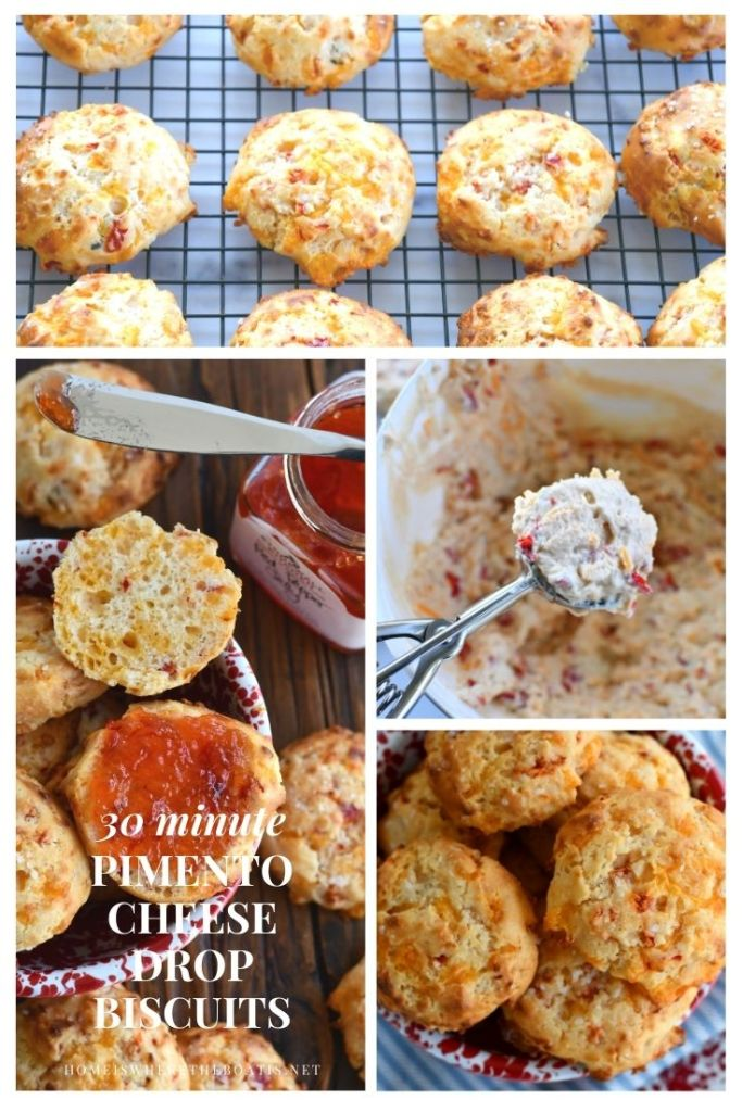30 Minute Pimento Cheese Drop Biscuits | ©homeiswheretheboatis.net #easy #recipe #biscuits #cheese