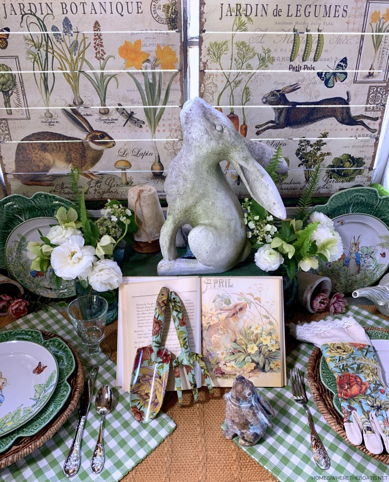 Tabletop gardening with bunnies in the Potting Shed | ©homeiswheretheboatis.net #tablescapes #bunnies #shed #spring