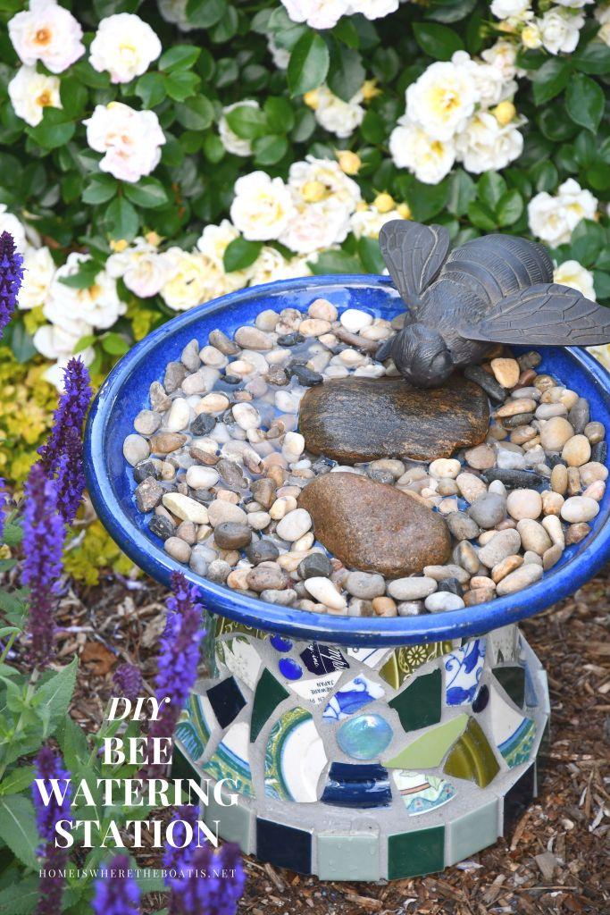 DIY Bee Watering Station | ©homeiswheretheboatis.net #flowers #garden #bees #DIY #nationalpollinatorweek
