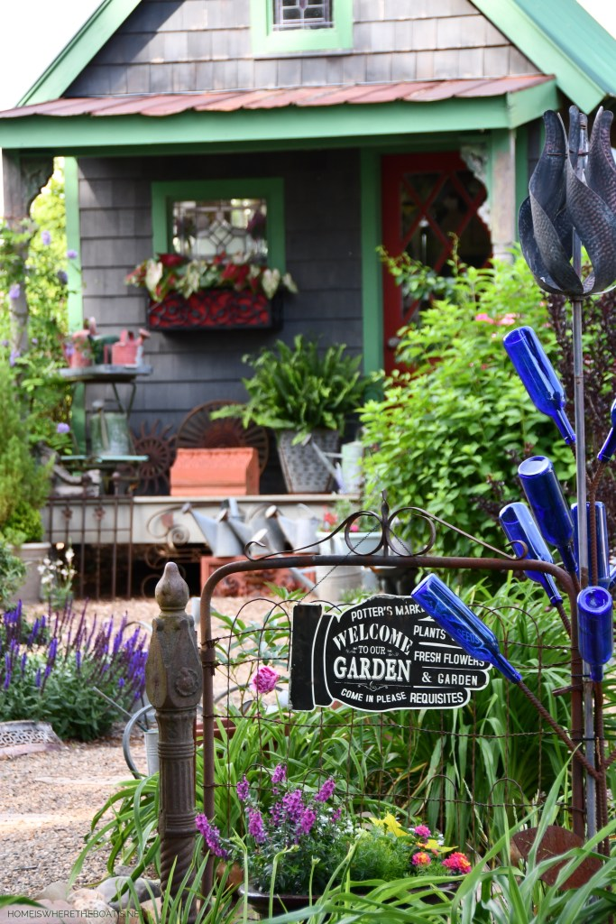 May Garden Blooms Around the Potting Shed | ©homeiswheretheboatis.net #DIY #bees #garden #flowers