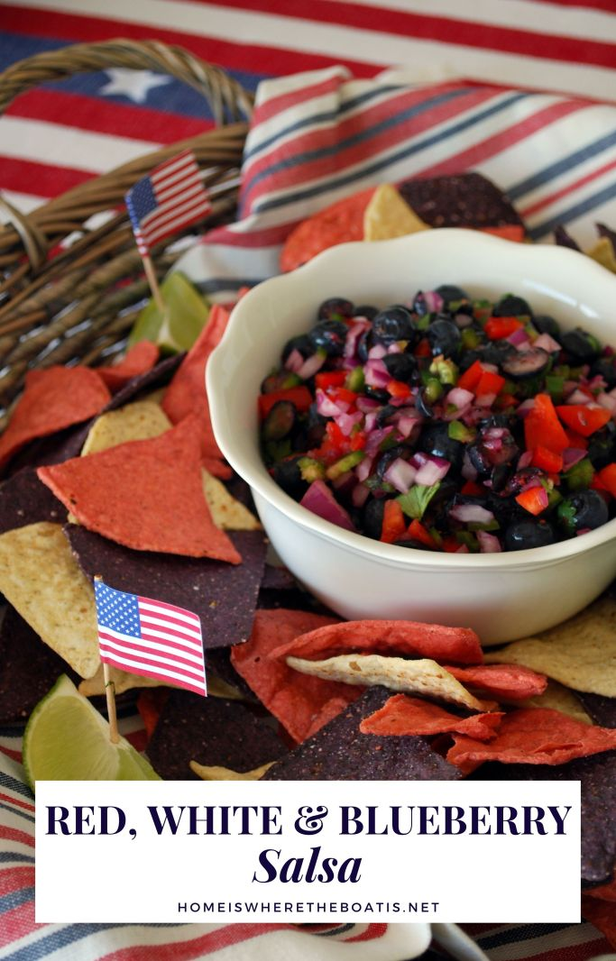 Red, White and Blueberry Salsa | ©homeiswheretheboatis.net #recipes #july4th #patriotic #easy #healthy