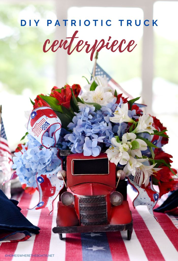 DIY Patriotic Red Truck Centerpiece with Flowers and Flags | ©homeiswheretheboatis.net #patriotic #tablescape #centerpiece #flag #4thofjuly