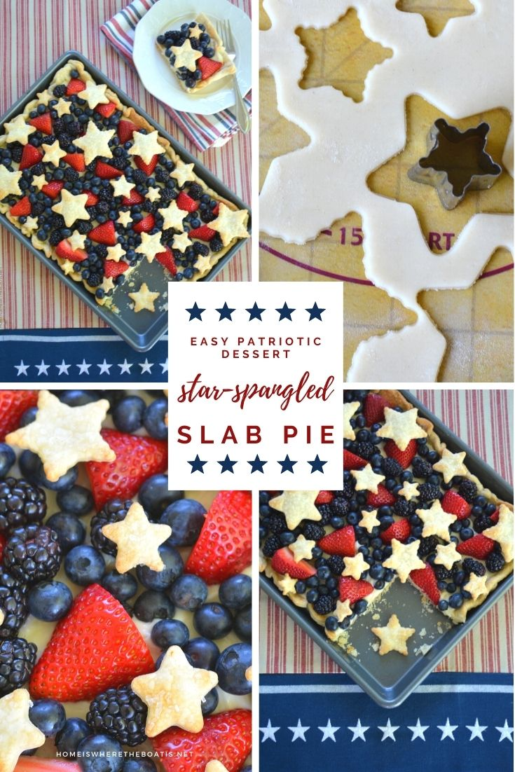 Star-Spangled Slab Pie! | ©homeiswheretheboatis.net #pie #desserts #patriotic #berries #4thofJuly