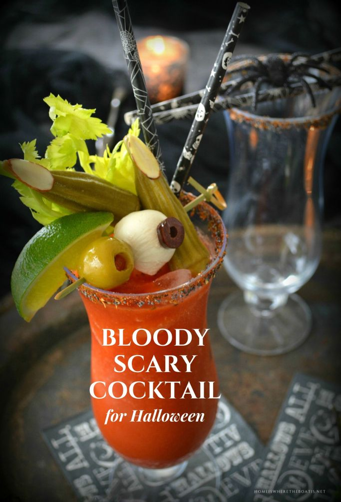 Dress Up Your Bloody Mary as a Bloody Scary Cocktail | homeiswheretheboatis.net #Halloween #cocktail