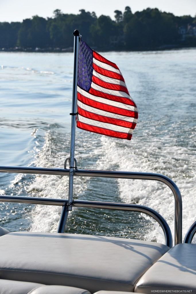 American flag on pontoon   ©homeiswheretheboatis.net #boating #lake #LKN #flag #4thofjuly
