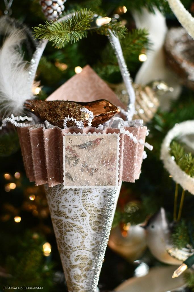 DIY Christmas Tree Ornament Cones from Scrapbook Paper | ©homeiswheretheboatis.net #DIY #christmas #craft #ornament