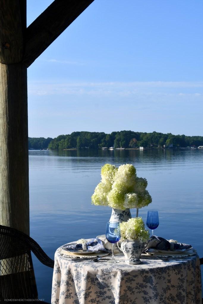 August Blues Lakeside Table and 'Pitcher Perfect' Limelight Hydrangeas | ©homeiswheretheboatis.net #summer #lake #alfresco #tablescape #transferware #blueandwhite #hydrangeas