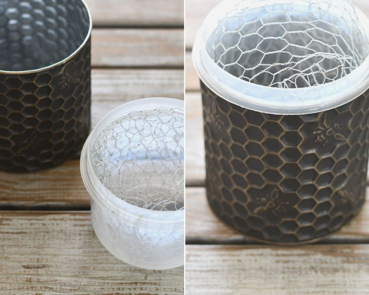 Embossed honeycomb and bee container fitted with chicken wire for flower arrangement | ©homeiswheretheboatis.net #flowers #DIY #tablescape #bees #sunflowers #summer