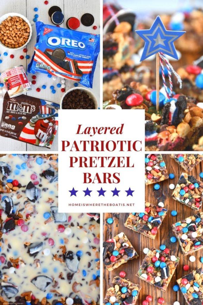 Layered Patriotic Pretzel Bars | ©homeiswheretheboatis.net #easy #dessert #4thofjuly #recipes