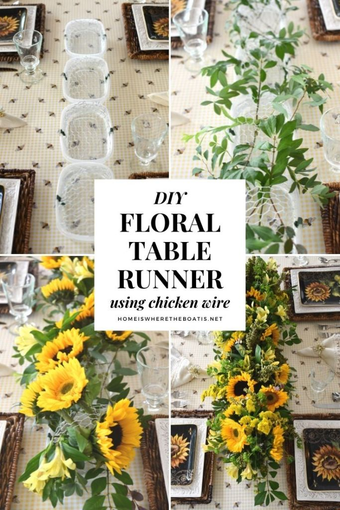 DIY Floral Centerpiece using chicken wire | ©homeiswheretheboatis.net #sunflowers #tablescape #flowers #DIY