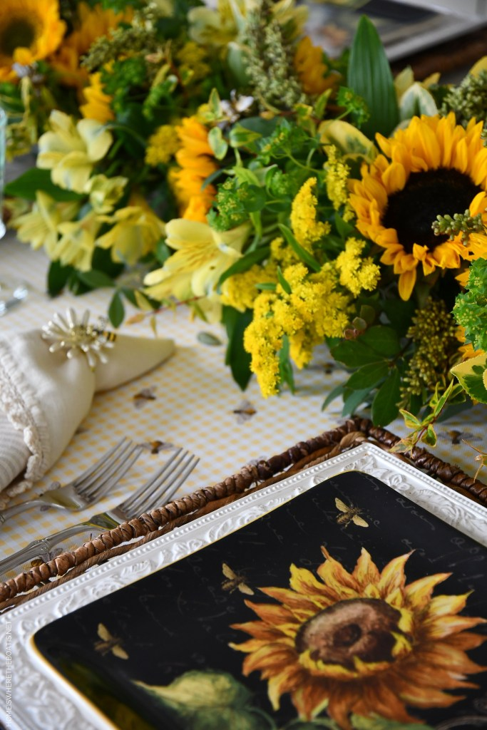 DIY Floral Centerpiece and Tablescape with Sunflowers ©homeiswheretheboatis.net #sunflowers #DIY #tablescape #centerpiece