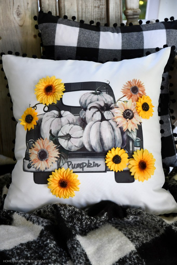 Easy DIY Fall Pillow Embellishment and 5-Minute Craft Project | ©homeiswheretheboatis.net #sunflowers #DIY