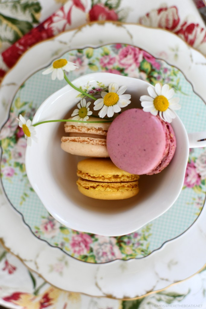 Macarons and chamomile in teacup | ©homeiswheretheboatis.net #teatime