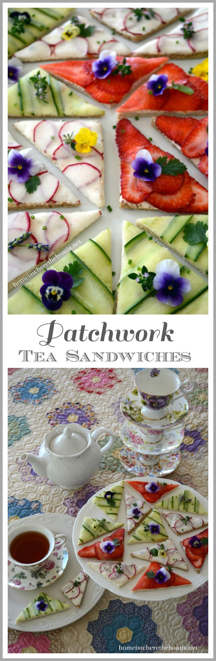 Patchwork Tea Sandwiches! A patchwork of cucumber, thinly sliced radishes, and strawberries on top of a cream cheese spread   ©homeiswheretheboatis.net #teaparty #recipes