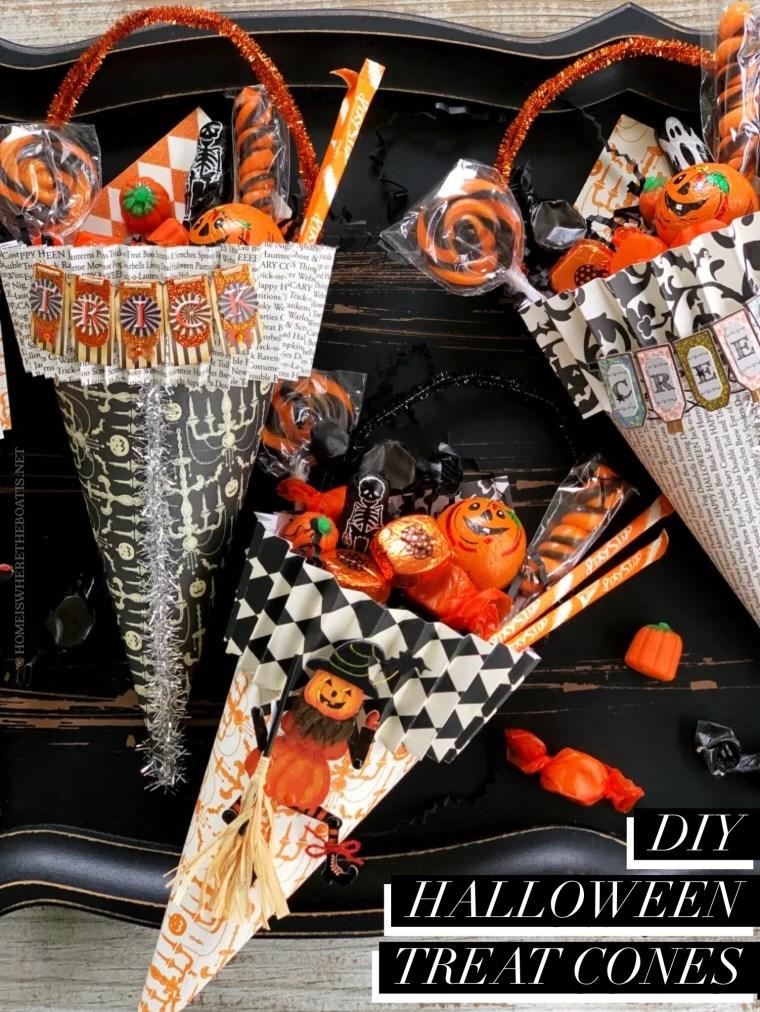DIY Halloween Treat Cones | ©homeiswheretheboatis.net #halloween #DIY #treats #craft