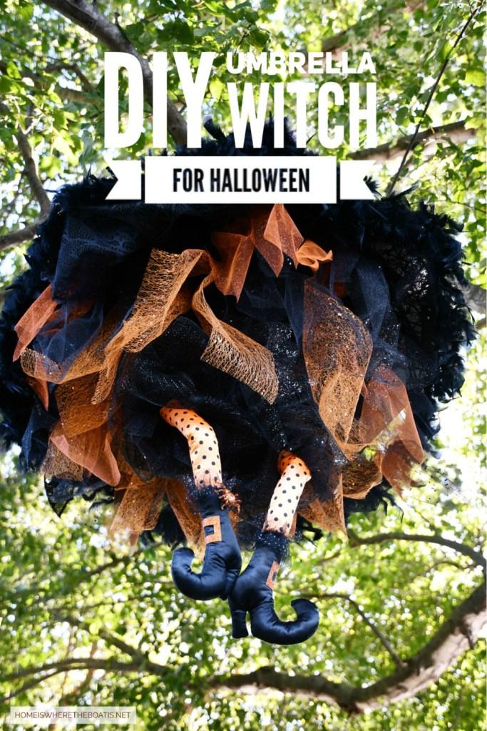 Floating Umbrella Witch DIY for Halloween | ©homeiswheretheboatis.net #Halloween #witch #DIY