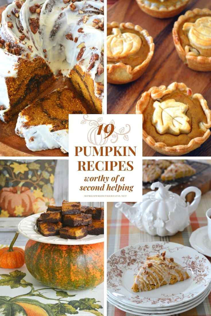 19 Pumpkin Recipes Worthy of a Second Helping | ©homeiswheretheboatis.net #pumpkin #recipes #desserts #pie #cake #scones #brownies
