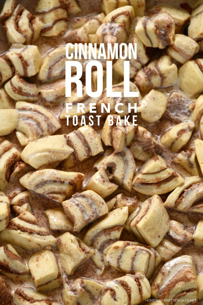 Cinnamon Rolls meet French Toast in this easy and crowd-pleasing baked French Toast casserole, with only 10 minutes of prep time! | ©homeiswheretheboatis.net #cinnamonrolls #frenchtoast #brunch #easy #recipe #casserole