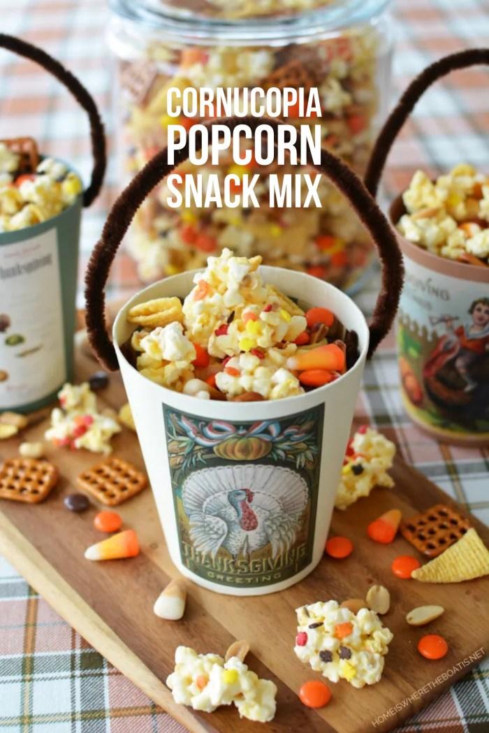 An Easy No-Bake Treat: Cornucopia Popcorn Snack Mix   ©homeiswheretheboatis.net #thanksgiving #popcorn #nobake #treat #recipes