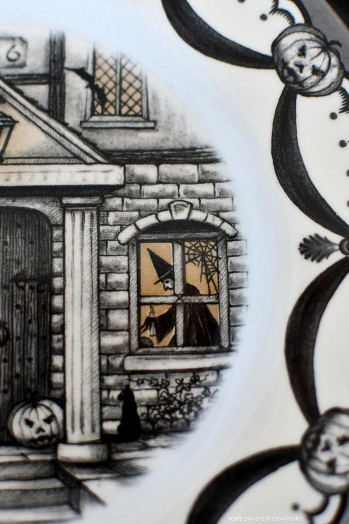 Royal Stafford Haunted House plates for a Happy Haunting Tablescape | ©homeiswheretheboatis.net #halloween #tablescape