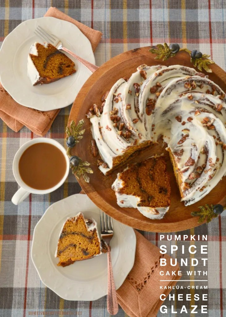 Pumpkin Spice Bundt Cake with Kahlúa-Cream Cheese! Glaze Fans of Pumpkin Spice Latte will love this warmly spiced Bundt cake with an espresso-cinnamon swirl and coffee glaze, topped with a layer of Kahlua-Cream Cheese.