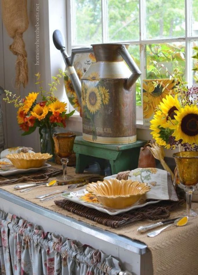 Fleur Du Soleil Watering Can and Sunflowers in the Potting Shed | homeiswheretheboatis.net #tablescape
