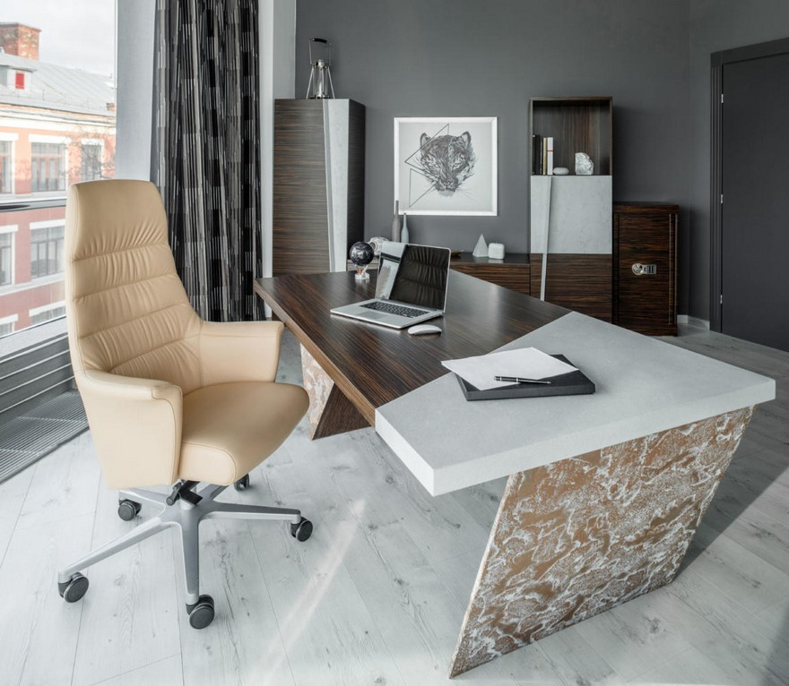Brutal Amp Elegant Office Mixture Of Concrete And Zebrawood
