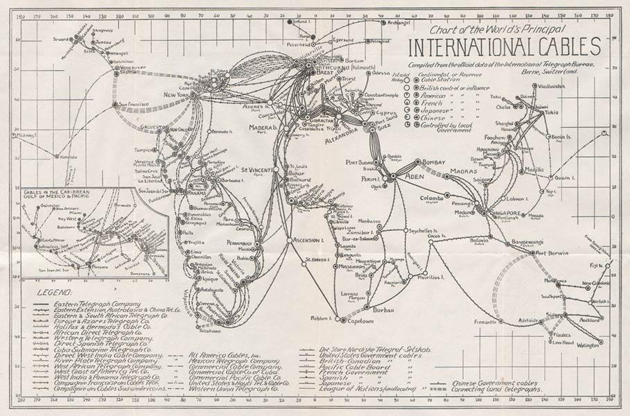 World map of communications 1924