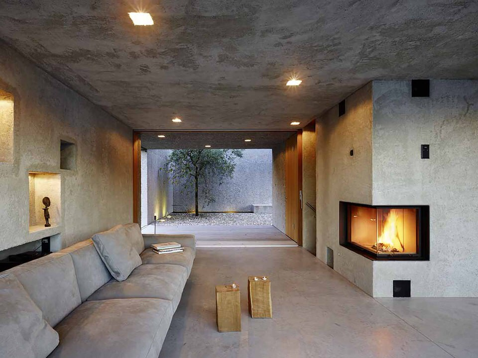 Living Room through to Courtyard with Corner Fireplace