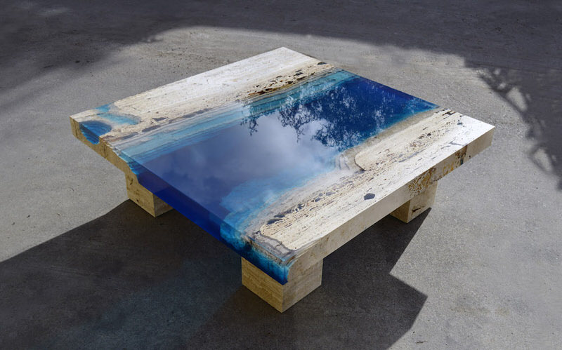 Lagoon Tables In Travertine Marble And Resin By La Table