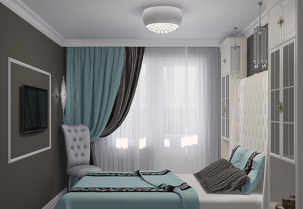 дизайн спальни в бирюзовых тонах фото 6