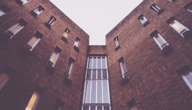 A building of apartments that adhere to the Fair Housing Act.