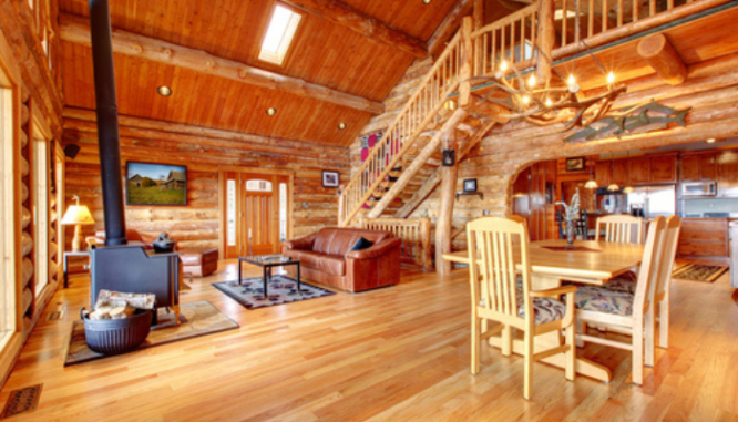 A log home that needs to be inspected and maintained.