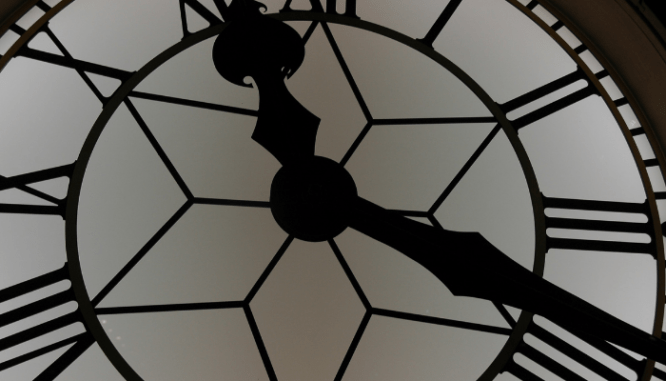 A clock used to represent the timing of a perfect home renovation.