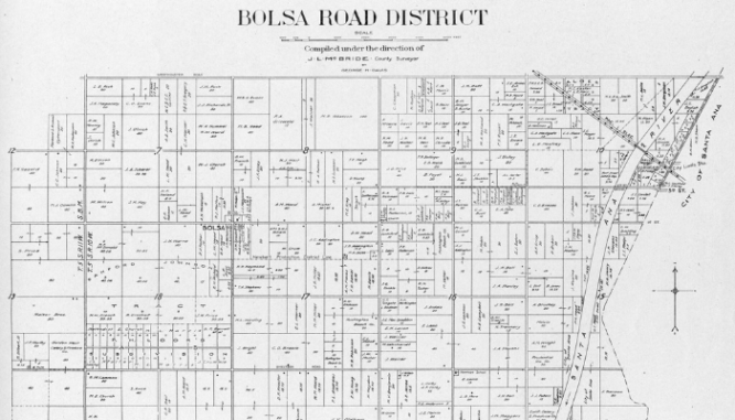 A plat map of Bolsa Road.