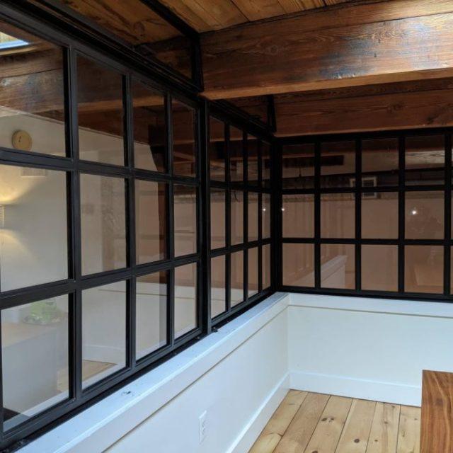 Windows in the industrial interior design.