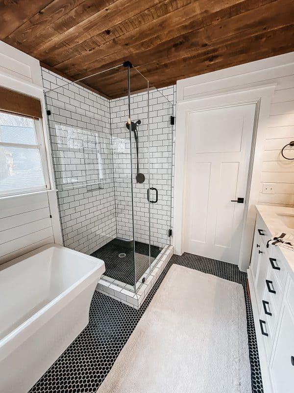 shiplap bathroom in a modern farmhouse