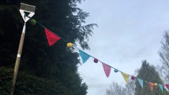 Crochet Bunting (Hung on Garden Hoes!)