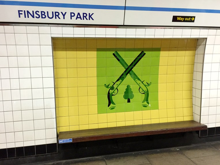 Finsbury Park Victoria line tiles designed by Tom Eckersley 1968